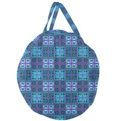 Mod Purple Green Turquoise Square Pattern Giant Round Zipper Tote