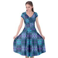Mod Purple Green Turquoise Square Pattern Cap Sleeve Wrap Front Dress