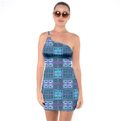 Mod Purple Green Turquoise Square Pattern One Soulder Bodycon Dress