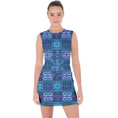 Mod Purple Green Turquoise Square Pattern Lace Up Front Bodycon Dress