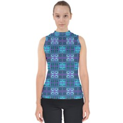 Mod Purple Green Turquoise Square Pattern Mock Neck Shell Top