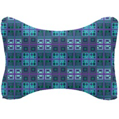 Mod Purple Green Turquoise Square Pattern Seat Head Rest Cushion
