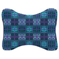 Mod Purple Green Turquoise Square Pattern Velour Seat Head Rest Cushion