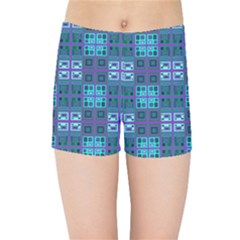 Mod Purple Green Turquoise Square Pattern Kids Sports Shorts