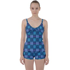 Mod Purple Green Turquoise Square Pattern Tie Front Two Piece Tankini