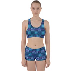 Mod Purple Green Turquoise Square Pattern Work It Out Gym Set
