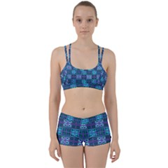Mod Purple Green Turquoise Square Pattern Perfect Fit Gym Set