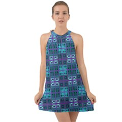 Mod Purple Green Turquoise Square Pattern Halter Tie Back Chiffon Dress