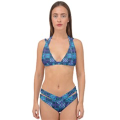 Mod Purple Green Turquoise Square Pattern Double Strap Halter Bikini Set