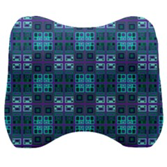 Mod Purple Green Turquoise Square Pattern Velour Head Support Cushion
