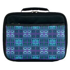 Mod Purple Green Turquoise Square Pattern Lunch Bag