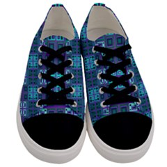 Mod Purple Green Turquoise Square Pattern Men s Low Top Canvas Sneakers
