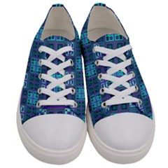 Mod Purple Green Turquoise Square Pattern Women s Low Top Canvas Sneakers