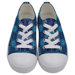 Mod Purple Green Turquoise Square Pattern Kids  Low Top Canvas Sneakers