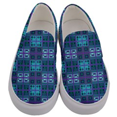 Mod Purple Green Turquoise Square Pattern Men s Canvas Slip Ons