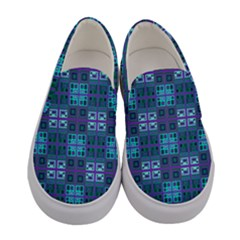 Mod Purple Green Turquoise Square Pattern Women s Canvas Slip Ons