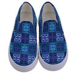 Mod Purple Green Turquoise Square Pattern Kids  Canvas Slip Ons