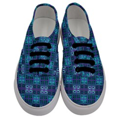 Mod Purple Green Turquoise Square Pattern Men s Classic Low Top Sneakers
