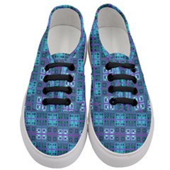 Mod Purple Green Turquoise Square Pattern Women s Classic Low Top Sneakers