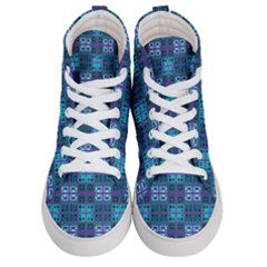 Mod Purple Green Turquoise Square Pattern Men s Hi Top Skate Sneakers