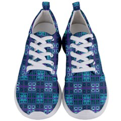 Mod Purple Green Turquoise Square Pattern Men s Lightweight Sports Shoes