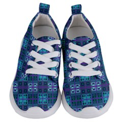 Mod Purple Green Turquoise Square Pattern Kids  Lightweight Sports Shoes