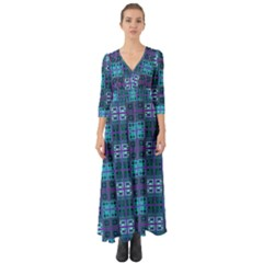 Mod Purple Green Turquoise Square Pattern Button Up Boho Maxi Dress