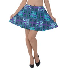 Mod Purple Green Turquoise Square Pattern Velvet Skater Skirt