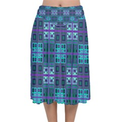 Mod Purple Green Turquoise Square Pattern Velvet Flared Midi Skirt