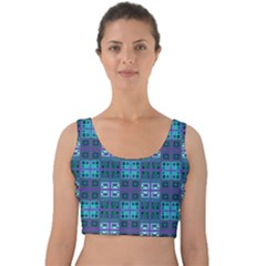 Mod Purple Green Turquoise Square Pattern Velvet Crop Top