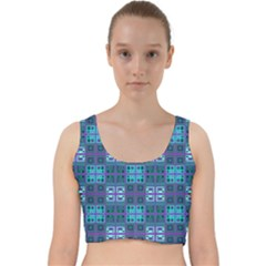 Mod Purple Green Turquoise Square Pattern Velvet Racer Back Crop Top
