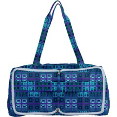 Mod Purple Green Turquoise Square Pattern Multi Function Bag