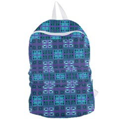 Mod Purple Green Turquoise Square Pattern Foldable Lightweight Backpack