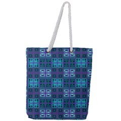 Mod Purple Green Turquoise Square Pattern Full Print Rope Handle Tote (large)