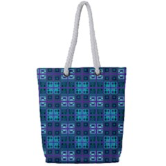 Mod Purple Green Turquoise Square Pattern Full Print Rope Handle Tote (small)