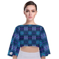 Mod Purple Green Turquoise Square Pattern Tie Back Butterfly Sleeve Chiffon Top
