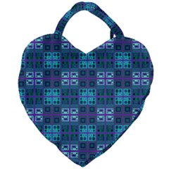 Mod Purple Green Turquoise Square Pattern Giant Heart Shaped Tote