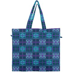 Mod Purple Green Turquoise Square Pattern Canvas Travel Bag