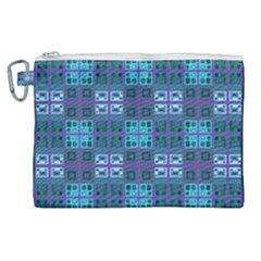 Mod Purple Green Turquoise Square Pattern Canvas Cosmetic Bag (xl)