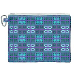 Mod Purple Green Turquoise Square Pattern Canvas Cosmetic Bag (xxl)