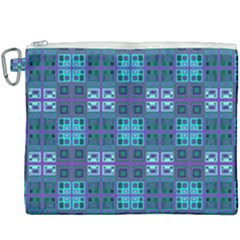 Mod Purple Green Turquoise Square Pattern Canvas Cosmetic Bag (xxxl)