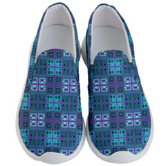 Mod Purple Green Turquoise Square Pattern Men s Lightweight Slip Ons
