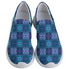 Mod Purple Green Turquoise Square Pattern Women s Lightweight Slip Ons