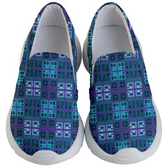 Mod Purple Green Turquoise Square Pattern Kid s Lightweight Slip Ons