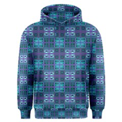 Mod Purple Green Turquoise Square Pattern Men s Overhead Hoodie