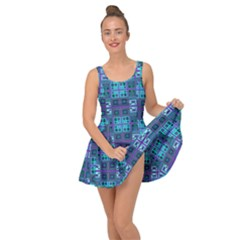 Mod Purple Green Turquoise Square Pattern Inside Out Casual Dress