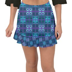 Mod Purple Green Turquoise Square Pattern Fishtail Mini Chiffon Skirt