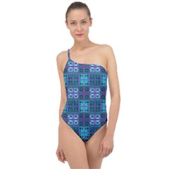 Mod Purple Green Turquoise Square Pattern Classic One Shoulder Swimsuit
