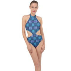 Mod Purple Green Turquoise Square Pattern Halter Side Cut Swimsuit