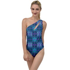 Mod Purple Green Turquoise Square Pattern To One Side Swimsuit